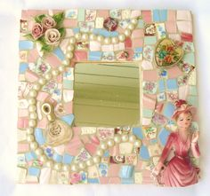 Pique Assiette Mosaic Mirror    Made to Order   Broken China Mosaic Vintage China