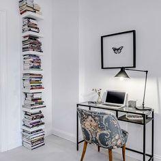 Ikea 'Lack' shelf & 'Vittsjö' desk @magnussonmakleri - using the lack like a spine bookcase :)