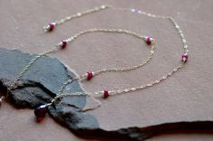 Mixed Gemstone Necklace with garnet pendant, red rubies, and freshwater pearls by Gewgaws & Gimcracks on #Etsy #jewelry #necklace #garnet #ruby #gold #gewgaws