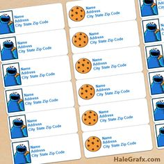 cookie monster labels FREE Printable Cookie Monster Address Labels