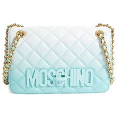 Moschino 'Medium Letters' Degrade Quilted Leather Shoulder Bag (9.225 DKK) ❤ liked on Polyvore featuring bags, handbags, shoulder bags, blue, blue shoulder bag, shoulder strap bag, quilted shoulder bag, hand bags and purse shoulder bag