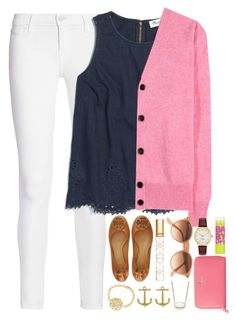 """""""I am going to a river raft race tomorrow!!!"""" by thedancersophie ❤ liked on Polyvore featuring Tory Burch, Frame Denim, Fornash, Madewell, Victoria Beckham, Ray-Ban, Kendra Scott, Kate Spade and Maybelline"""