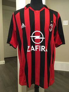 5e716bd49 AC Milan Adidas Soccer Jersey Red Black Zafira Size XL  adidas  ACMilan