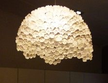 bottom of plastic bottles reutilized into a light...gives the illusion of flowers