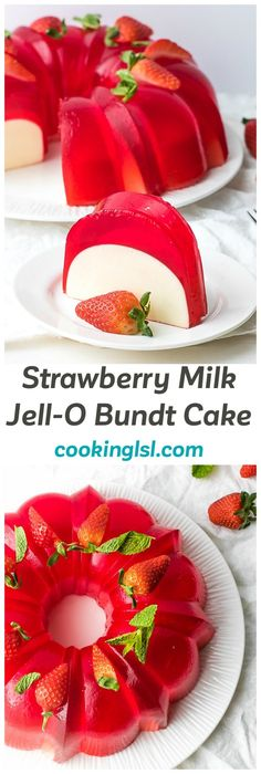 Milk Strawberry Jell-O Mold Bundt Recipe for a light and smooth dessert