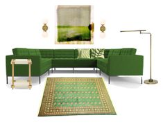 """""""kelly green and brass living room"""" by piplusc ❤ liked on Polyvore featuring interior, interiors, interior design, home, home decor, interior decorating, Parvez Taj, Joybird, House of Troy and living room"""