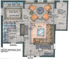 Candice Olson's Divine Design: Let's Party designer Candice Olson transforms an overworked basement Interior Design Renderings, Drawing Interior, Interior Rendering, Interior Sketch, Croquis Architecture, Architecture Plan, Candice Olsen Design, Interior Design Candice Olson, Plan Design