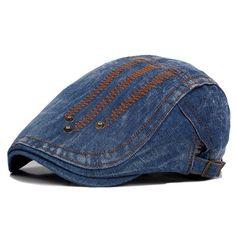 1f162676f20 Mens Summer Denim Rivet Beret Caps Fashion Sunscreen Forward Hat Painter  Caps