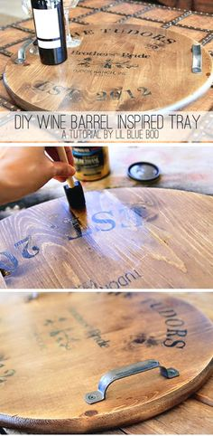 DIY: Wine Barrel Inspired Tray - tutorial has great instructions on transferring graphics & has lots of pics that shows each step. --- would love to make this into a lazy Suzan as well as tray Diy Projects To Try, Wood Projects, Barrel Projects, Do It Yourself Projects, Wood Crafts, Diy And Crafts, Gift Crafts, Do It Yourself Organization, Do It Yourself Furniture