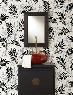Midori White Bamboo Silhouette Wallpaper - contemporary - wallpaper - Brewster Home Fashions Bamboo Wallpaper, Eclectic Decor Inspiration, Brewster Wallpaper, White Bathroom Decor, Bathroom Wallpaper, Black And White Living Room, Contemporary Wallpaper, Black And White Leaves, Leaf Wallpaper