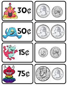 Money Teaching Money, Teaching Math, Teaching Tips, Math For Kids, Fun Math, Maths, Math Stations, Math Centers, Money Activities
