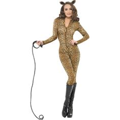 Fever Leopard Print Whiplash Costume, With Catsuit and Ears Animal Costumes For Adults, Adult Costumes, Costumes For Women, Halloween Costumes, Catsuit, Fancy Dress, Bodycon Dress, Plus Size, Carnival