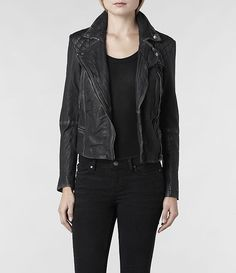 Damen Cargo Leather Biker Jacket (Black/Grey) | ALLSAINTS.com