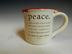 Ceramic red peace mug by MarkCampbellCeramics on Etsy