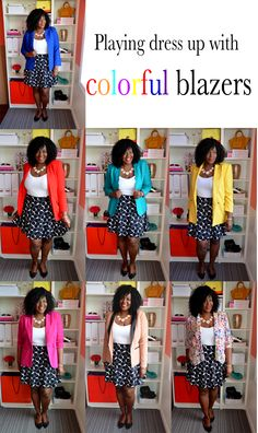how to wear colored blazers.This Addition Elle skirt is so cute and versatile. #closetremix #blazerremix, how to build a remixable closet.