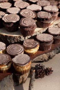 "Cool ""wood"" cupcake toppings.  I would've loved to have thought of something like this for the woodland party we threw."