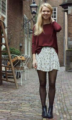 2ed6bf1aa Flower Dresses, Nylons, Fashion Outfits, Womens Fashion, Fall Winter  Outfits,
