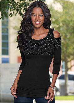 Blusa ombros vazados preto encomendar agora na loja on-line bonprix.de R$ 89,90 a partir de Blusa de manga ¾, decote redondo e recortes nos ombros. ...
