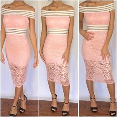 Pink lace dress Beautiful off shoulder dress in a beautiful pink color model is 5'4 and wearing a small Dresses