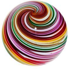 "Kris Parke 1 1 2"" Electric Rainbow Swirl Contemporary Art Glass Marble"
