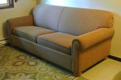 ABOUT AS CLEAN AS YOU WILL FIND AND STILL PAY USED PRICE I simply do not need a hide-a-bed so I have posted my beautiful couch. *High quality / Made made *Firm Cushions *Been Kept Covered *Mattress...Looks like a good clean sofa, nuetrul color easy to accessorize with animal print , hunting items etc.