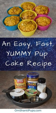 Looking for an easy, fast pupcake recipe for dogs? This cake recipe is so simple! Check it out using ingredients you probably have in your cabinets right now! # Dogs cake An Easy, Fast, YUMMY Pup Cake Recipe Pupcake Recipe For Dogs, Dog Safe Cake Recipe, Dog Cake Recipes, Dog Biscuit Recipes, Delicious Cake Recipes, Dog Treat Recipes, Dog Food Recipes, Peanut Recipes, Puppy Cake