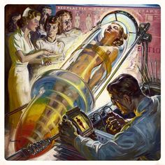 It ain't Pulp without the obligatory naked vixen in the glass test tube! Better living through Science! Norman Saunders for Marvel Science Stories, April-May 1939 Art Science Fiction, Pulp Fiction, Steampunk, Illustrations, Illustration Art, Art Pulp, Serpieri, Atomic Age, To Infinity And Beyond