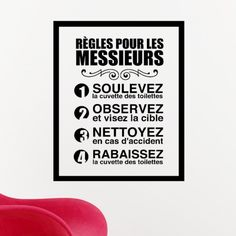 Rendez votre décoration dynamique et originale en toute simplicité avec notre Sticker règles pour les messieurs.