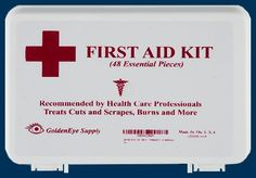 First Aid Kit for Auto, Home, Office, Car from GoldenEye Supply - Essential Emergency Items for Basic Medical Safety - Treats Minor Cuts, Scrapes, Burns - Lightweight, Convenient, Small, Hard Plastic Case - 48 piece - Be Prepared for the Next Injury!