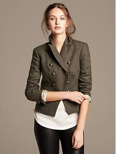 Olive Double Breasted Blazer via Banana Republic
