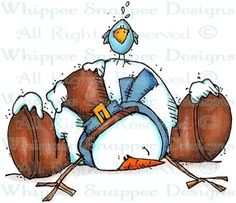 Down & Out Snowman - Snowmen Images - Snowmen - Rubber Stamps - Shop