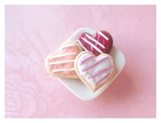 Tiny heart cookies for Valentines Day. Handmade of polymer clay.