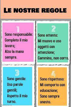 Regole della classe Italian Lessons, School Tomorrow, Learning Italian, Circle Time, Teaching Kids, Montessori, Back To School, Classroom, Teacher