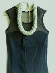 KYVELI mint tubular crocheted necklace by MerakibyStevie on Etsy, $45.00