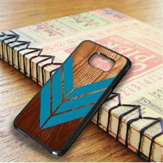 Wood Blue Chevron Samsung Galaxy S6 Edge Plus Case