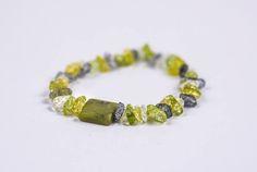SEMI-PRECIOUS PERIDOT Chip Stones Single Bracelet  #Bracelets See more! https://lalamotifs.com/product/semi-precious-peridot-chip-stones-single-bracelet/