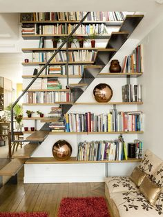 Cool Bookshelves Idea That Makes Use of Staircase Space space-saving under stair library bookshelves design – House Mode Staircase Bookshelf, Stair Shelves, Cool Bookshelves, Loft Stairs, Bookshelf Design, Staircase Design, Library Bookshelves, Bookcases, Basement Stairs