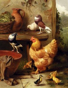 Lovely... painting of hen, doves and ducklings