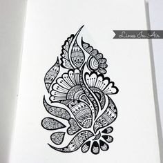 Easy Henna Mehndi Design by LinesInAir on DeviantArt Easy Doodle Art, Doodle Art Designs, Doodle Art Drawing, Zentangle Drawings, Zentangles, Easy Mandala Drawing, Mandala Art Lesson, Mandala Sketch, Simple Mandala