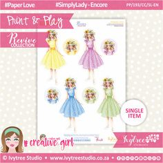 PP/193/CC/SL-EN - Print&Play - CUTE CUTS - Simply Lady-Encore - Revive Collection Cute Cuts, Printable Paper, The Creator, Paper Crafts, Symbols, Collections, Play, Creative, Artwork