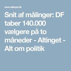 Snit af målinger: DF taber 140.000 vælgere på to måneder - Altinget - Alt om politik