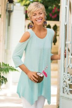 Sunset Top - Shoulder Cut Out Top, 3/4 Sleeve Tunic Blouse Aqua| Soft Surroundings