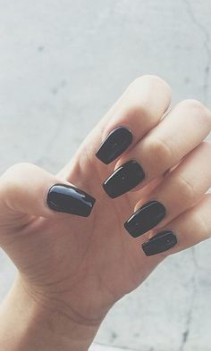 Long black nails, square shaped