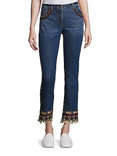 Etro Embroidered Skinny Jeans