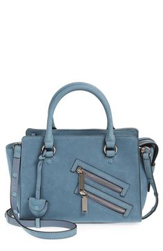 REBECCA MINKOFF SMALL JAMIE LEATHER SATCHEL - BLUE. #rebeccaminkoff #bags #shoulder bags #hand bags #leather #satchel #