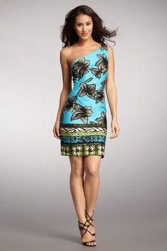 one shoulder Hawaiian dress Hawaiian Clothes, Hawaiian Dresses, Hawaiian Theme, Cute Dresses, Cute Outfits, Summer Dresses, Island Wear, Tropical Dress, Hawaiian Costumes