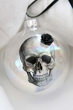 Macabre Gothic Victorian SKULL rose hanging CHRISTMAS HALLOWEEN BAUBLE ornament