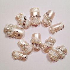 Wedding Nail Art, fake nails, japanese nail art kawaii. $28.00, via Etsy.