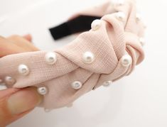 thin fabric front knot pearl decorated fashion headband Spring stylish hairband accessories for women - pearl accessories - Turbans, Turban Headbands, Fashion Headbands, Pearl Headband, Pearl Hair, Knotted Headband, Diy Hair Accessories, Fashion Accessories, Do It Yourself Fashion