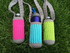 Crochet Water Bottle Holder, Neon and Grey, Watter Bottle Pouch, Hiking Buddy